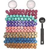 Botokon Sealing Wax, 150 Pieces Rainbow Colorful Octagon Sealing Wax Beads Sticks with a Wax Melting Spoon and 2 Pieces Candles for Wax Seal Stamp(7 Colors)