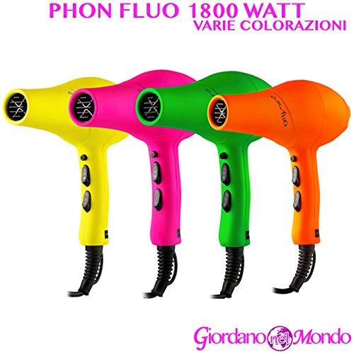 Phon capelli asciugacapelli parrucchiere soft-touch 1800 watt professionale (rosa fluo b346)