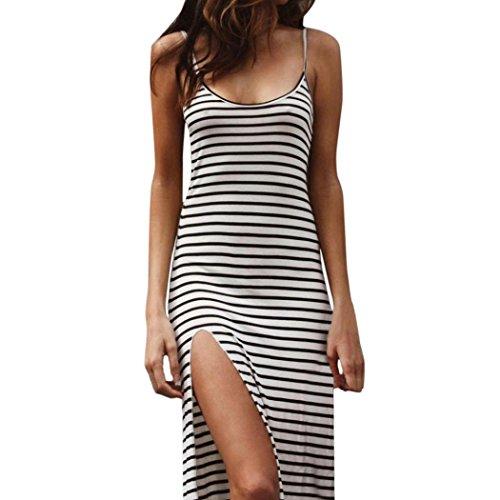 Dame Vogue Gestreiftes Kleid , OYSOHE 2018 Neueste Womens Sexy Sommer Strand ärmellos Split Rock gestreiften dünnen langen Kleid (S, Weiß) (Gestreift Mädchen Bekommen)
