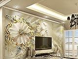Papier peint photo mural papier peint papier peint 3D moderne bijoux en or fleurs KN 1006., XXL 400x280 cm 8-Bahnen
