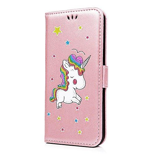 Cover iPhone 7 8 Pelle, E-Unicorn Custodia Apple iPhone 7 8 Pelle Portafoglio Flip Cover a Libro Rosso Unicorno Modello Disegno Brillantini Glitter Case [Supporto Stand][Slot per Schede] TPU Silicone  Oro Rosa