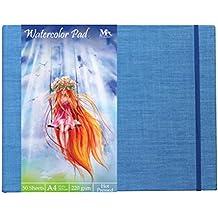 Papel Acuarela - 50 Hojas Tamaño A4, con Gramaje de 220 g - Watercolor Pad - Ideal para Artistas Principiantes y Profesionales - Tapa Dura y Encuadernado en Lino - MozArt Supplies