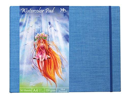 Aquarellblock mit gebundenem Hardcover und A4 Aquarellpapier, weiß - 50 Blatt Zeichenblock, 220 g/m² - Künstlerbedarf Malblock - Block für z.B. Schule, zum Malen und Zeichnen - MozArt Supplies (Blatt Gepresstes)