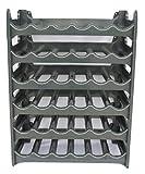 Weinregal stapelbar kunststoff für 36 Flaschen, stabiles leichtes Flaschenregal für Keller, Gastronomie und Lagerraum, modular erweiterbare Flaschen- und Weinlagerung, Anthrazit