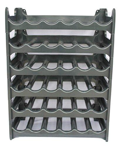Rack Spirituosen-wand (Weinregal stapelbar kunststoff für 36 Flaschen, stabiles leichtes Flaschenregal für Keller, Gastronomie und Lagerraum, modular erweiterbare Flaschen- und Weinlagerung, Anthrazit )