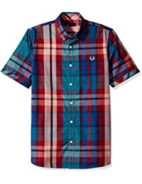 Fred Perry Men's Short Sleeve Button Down Casual Plaid Shirt