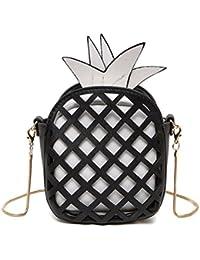 Honeymall 3D Mädchen klein süße Obst mini Clutch Umhängetaschen Handtasche transparente Abendtasche mit Reißverschluss und Zusatzkette Ananas gelb
