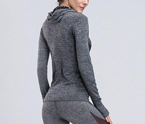 Les femmes à manches longues Running Top femmes Zip Running Sweat à capuche Sweatshirts, Yoga Haut Running veste avec poches à glissière Gris