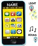 Smartphone - Handy mit 40 Sound´s & Musik & Licht -  BLAU  - incl. Name - für Kinder / Jungen & Mädchen - Auto - elektrisches Kinderhandy - Telefon - Lernha..