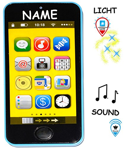 alles-meine.de GmbH Smartphone - Handy mit 40 Sound´s & Musik & Licht -  BLAU  - incl. Name - für Kinder / Jungen & Mädchen - Auto - elektrisches Kinderhandy - Telefon - Lernha..