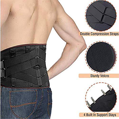 Hintere Unterstützung, Breathable justierbare Unterstützung, unterer hinterer doppelter Kompressionsgurt, Taillengurt, entlasten die rückseitigen Schmerz,XL -
