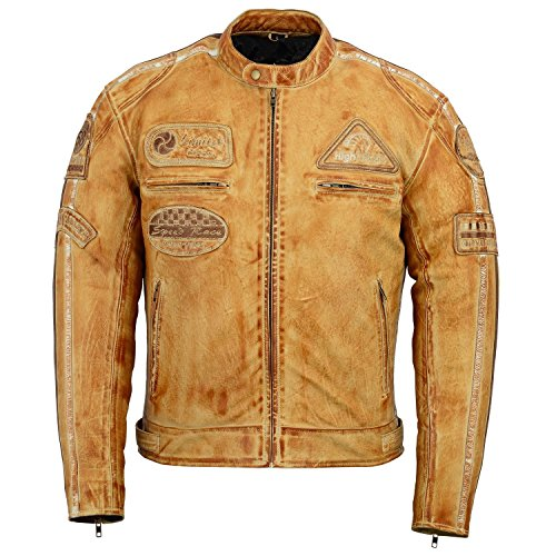 Herren Braun Retro gesteppte Echt Nappa Bikerjacke aus Leder (XXL) -