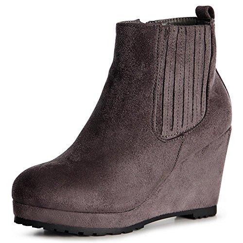 topschuhe24 1060 Damen Stiefeletten Keilabsatz Plateau Boots Grau