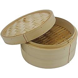MyLifeUNIT 10Inch, 2niveles de bambú para cocción al vapor vaporera de bambú con libre 50cuenta vaporera de bambú Liners, para cocinar verduras, arroz, pescado, Dim Sum