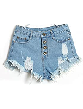 Donna Sexy Corto Jeans LILICAT, Le Signore Vintage Vita Alta Jeans Buco Denim Pantaloncini Caldo Nappe Pantaloni...