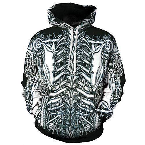 aare Männer Frauen 3D Grafik Print Hoodie Pullover Sweatshirt Jacke Pullover Top Digital Skelett, Stil, 2XL ()