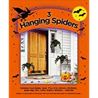‏‪3 HANGING SPIDERS SET STUFF YOUR OWN HALLOWEEN DECORATION INDOOR OUTDOOR SCARY DECOR‬‏