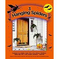 مجموعة من 3 عناكب معلقة لتزيين الهالوين الخاص بك في الأماكن المغلقة والمفتوحة