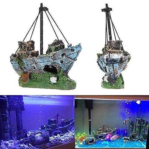Pirate Boat Aquarium Decor Landscaped Fish Tank Accessories Decoration Ornament Fish Shrimp Viewfinder Hippie Shelter House Underwater Hiding Cave Resin Boat