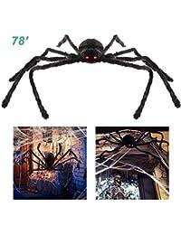 Knowooh Araña Peluda de Halloween Araña Gigante Ajustable de 2 Metros Decoración de araña Grande para Cementerio de Halloween, Exterior, Patio, casa embrujada
