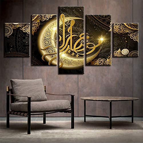 lglays HD Drucke Poster Wohnzimmer Dekor 5 Stücke Islam Allah Der Koran Gold Mond Malerei Muslim Leinwand Bilder Wandkunst Rahmen-30x40x2 30x60x2 30x80x1