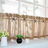Yujiao Mao Bow-Knot Landesmode Scheibengardine halbtransparent Bistrogardine Vorhänge modernes Wohnen, Kaffee, BxH 140x35cm