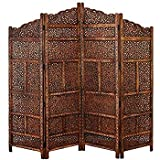 Tayyaba Enterprises 4 Panel Handcrafted Mango Wooden Partition For Living Room/Office