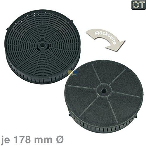 Electrolux AEG 4055171138 ORIGINAL Kohlefilter Aktivkohlefilter Filter Geruchsfilter Dunstabzugshaube rund Ø 178mm 2 Stück auch Type57 CA6620IS CA9620IS ADX6300BW PDV9065E X56263MP0