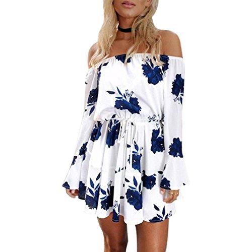 Damen Kleid LSAltd Frauen Blumen gedruckt von Schulter lange Ärmel Beach Party Kleid mit Gürtel (Blau, M) (29.5 Ärmel)
