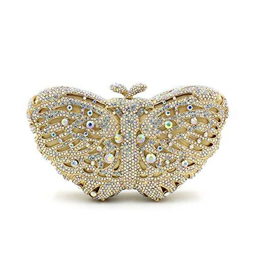 Donna di strass preferiti farfalla colorata Borse sera Wallet borsetta F