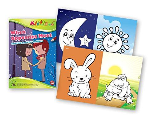 QuackDuck libro para colorear When Opposites Meet - Cuando los contrarios se encuentran - Coloring Booklet - Libro para colorear con fondos de color - Bloc para niños a partir de 4 años