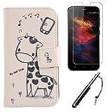 Lankashi 3in1 Set Giraffe Design PU Flip Leder Tasche Für