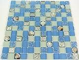 Fliesen Mosaik Mosaikfliese Bad Küche Crystal Muschel blau Bordüre Neu #450
