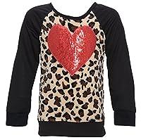 Little Girls Tan Red Heart Sequin Applique Leopard Spot Casual Top 5