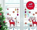 Fenstersticker Weihnachtssticker - Rothirsch, Christbaumkugeln, Sterne - Stickerset 28-teilig, Hirsch ca. 22cm, Sterne Ø 4cm - individuell gestaltbar