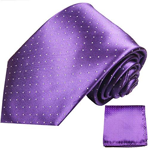 Paul Malone Krawatten Set 100% Seide lila violett Seidenkrawatte + Einstecktuch