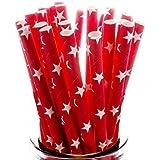 Blanco Estrellas en Rojo Pajitas De Papel x 100