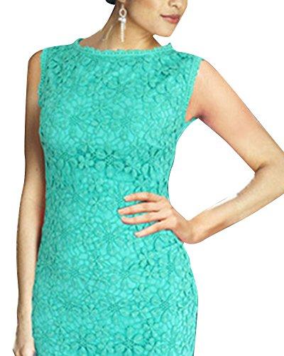 Damen Spitzenkleid knielang Cocktailkleid mit Spitze Elegant Mini Kleid Ärmelloses Ballkleid Partykleid Sommerkleid Grün