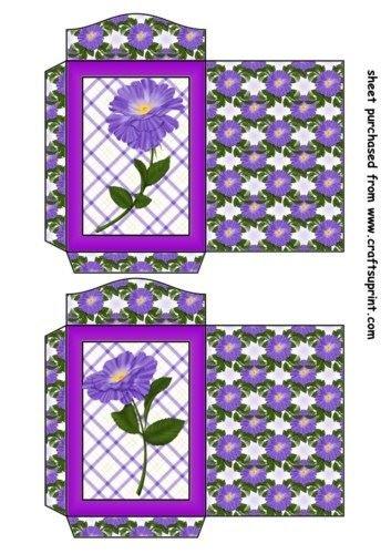 Feuille A4 pour confection de carte de vœux - 2 Purple periwinkle seed packets 1 par Sharon Poore
