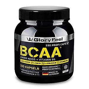 GloryFeel® BCAA 330 Kapseln – Der VERGLEICHSSIEGER 2020*- Essentielle Aminosäuren Leucin, Valin und Isoleucin Plus Vitamin B6 – Laborgeprüft und ohne Zusätze hergestellt in Deutschland