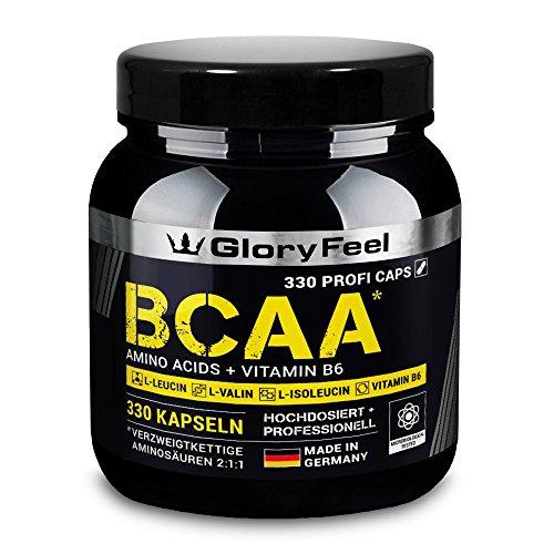 Der BCAA VERGLEICHSSIEGER 2018* - 330 Kapseln mit den essentiellen Aminosäuren Leucin, Valin und Isoleucin Plus Vitamin B6 - Laborgeprüft und ohne unerwünschte Zusätze hergestellt in Deutschland