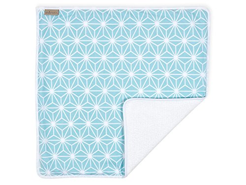 KraftKids Wickeltischunterlage weiße Diamante auf Pastel Blau, Windelmatte aus 100% Baumwolle, wasserundurchlässige Reise-Wickelunterlage (Pasteles Maschine)