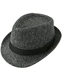 6a76c7f81d6 FALETO Fedora Hat Trilby Hats Cotton Blended Panama Sun Jazz Cap for Mens  Womens