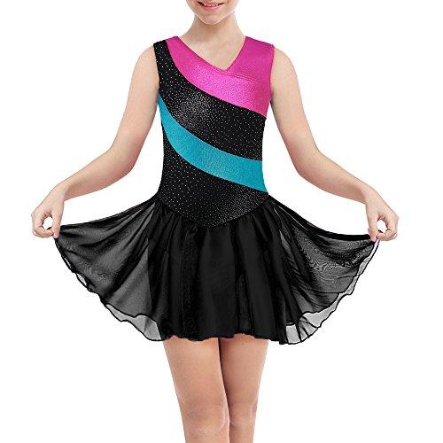 DAXIANG Body per Ginnastica per Ragazze Maniche Lunghe a Righe Arcobaleno con Gonna in Tulle Balletto (Black(Sleeveless), 130(6-7Y))
