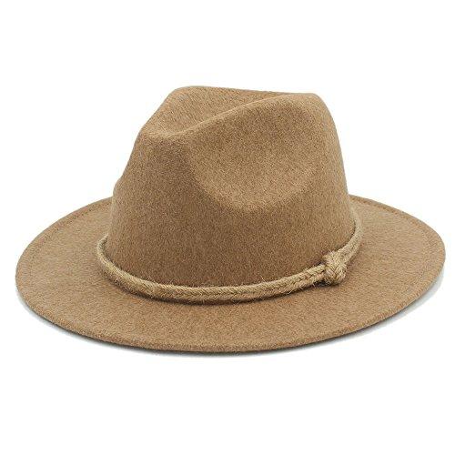 MMD-women's hat Mode Retro Wolle Panama Sombrero Frauen Männer Breite Krempe Fedora Hut für Dame Cashmere Jazz Kirche Kappe Gentleman Top Hut Hanfseil weich (Farbe : 3, Größe : 57-58 cm) - Panama Sombrero