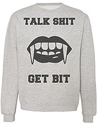 Talk Sh*t Get Bit Woman Lips With Vampire Teeth Sudadera Unisex