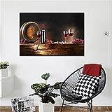Wein mit Trauben und Barrel Leinwand Kunst Malerei Essen Bilder für Home Wohnzimmern Küche Decor Dekoration Geschenk hgh06