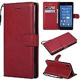 BoxTii Coque Sony Xperia Z3, Etui en Cuir Flip Portefeuille Housse de Protection avec Gratuit Protection D'écran en Verre Trempé pour Sony Xperia Z3 (Rouge)