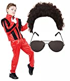 Boys Michael Jackson 80S Fancy Dress Costume With Wig & Glasses Age 10-12