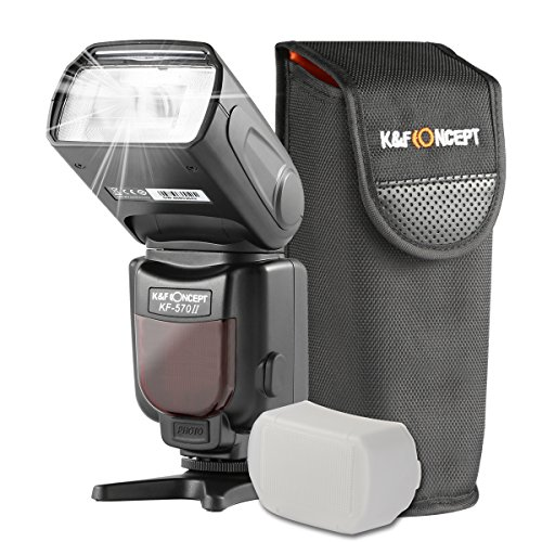 K&F Concept Universal Blitz Blitzgerät Speedlite Blitzlicht für Canon Nikon Fuji Olympus Sigma Leica GN 54 mit LCD-Anzeige
